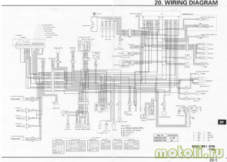 Электрическая схема изService Manual (0030Z-MCJ-6700, 0030Z-MCJ-7700) дляHonda CBR929RR (трёхконтактные передние указатели поворота)