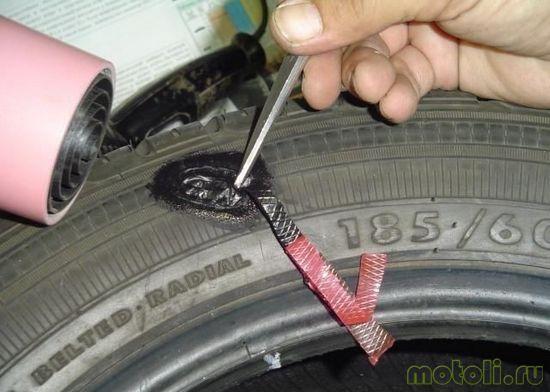 резиновая вставка при ремонте шин