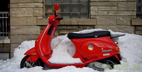 скутер зимой