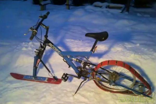 готовый снегоход из велосипеда