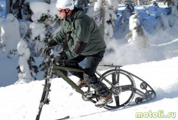 как сделать снегоход из велосипеда