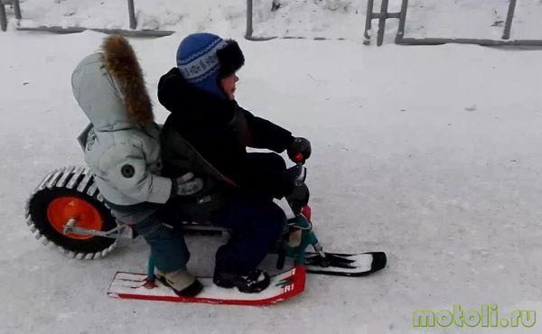 детский снегоход из бензопилы