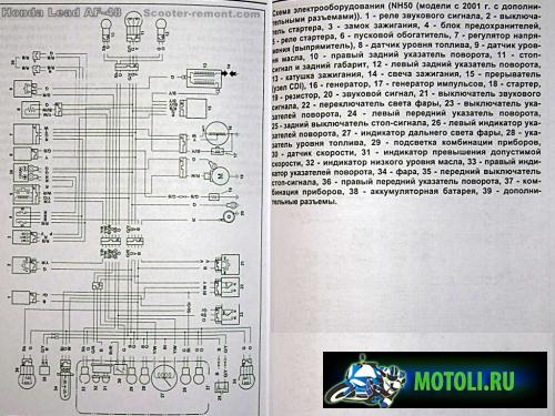 Схема электрооборудования скутера Honda Lead AF 48